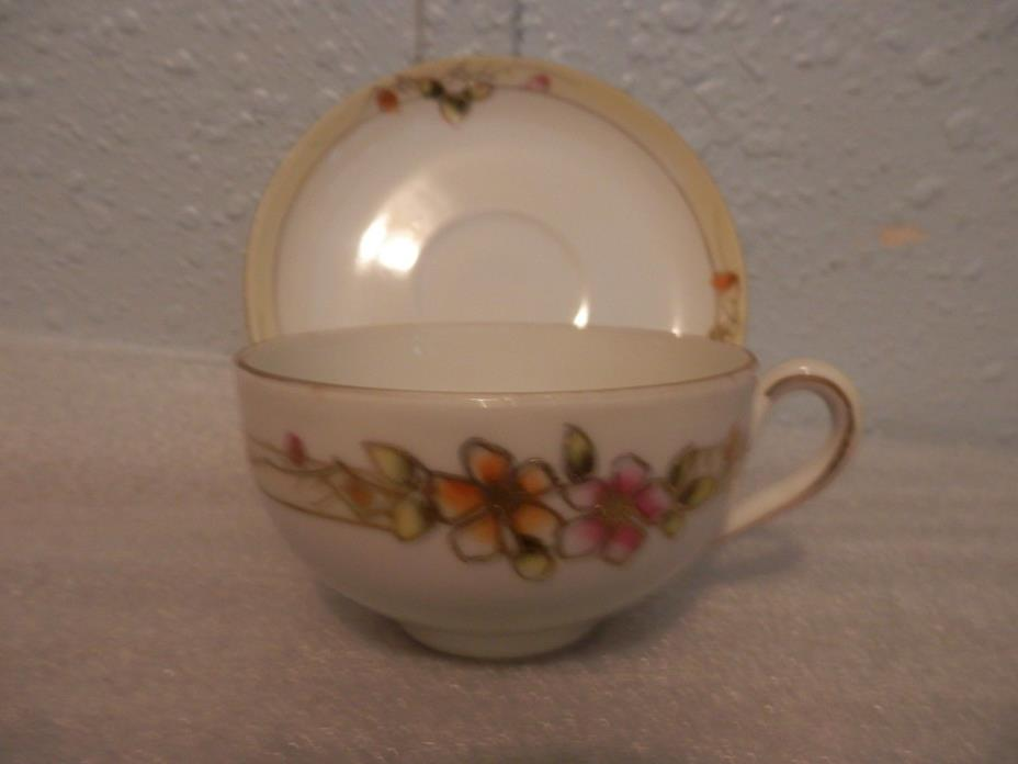 Nippon Hand Painted Cup/Saucer Set, Made in Japan