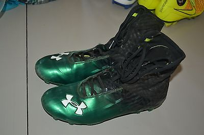 UNDER ARMOUR MENS 9 COMPFIT GREEN AND BLACK FOOTBALL CLEATS HI TOP SHOES NICE