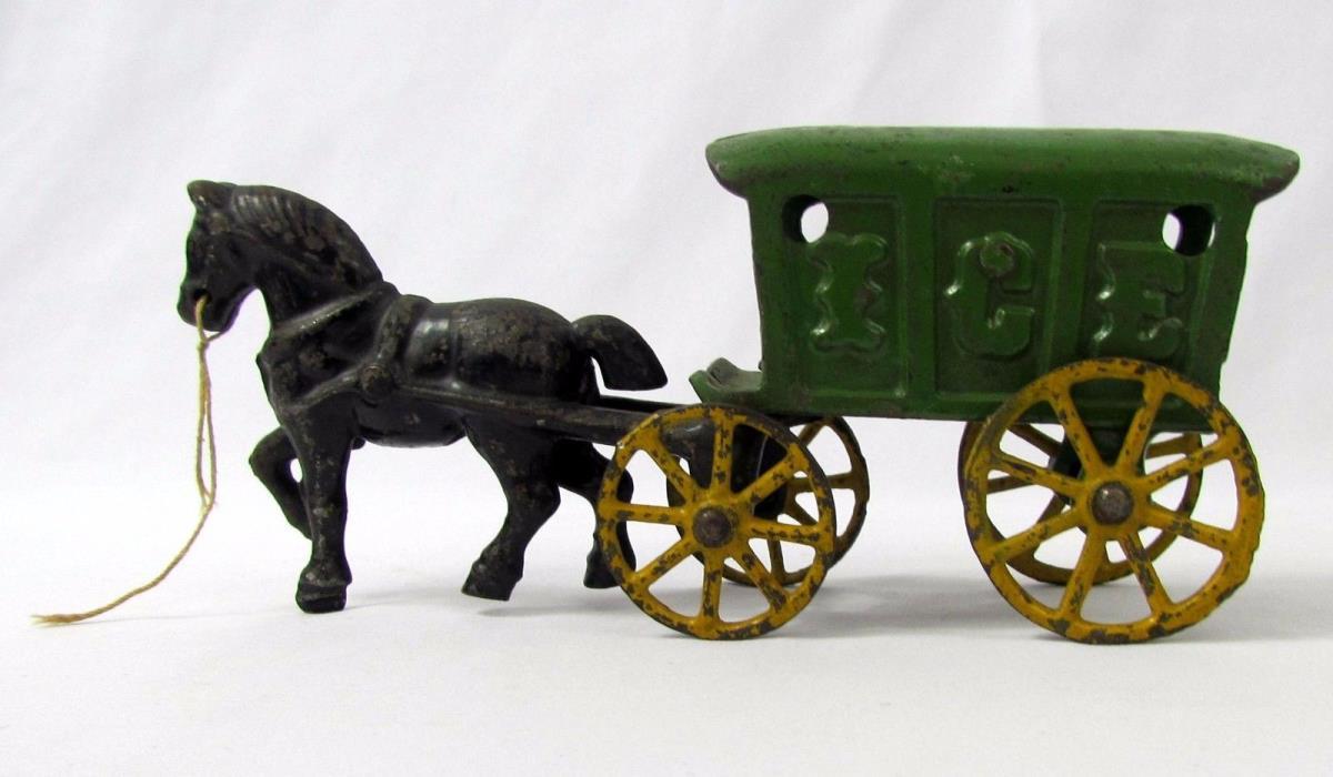 Antique Original Kenton Black Horse Drawn Green Ice Wagon Cast Iron ca. 1920's