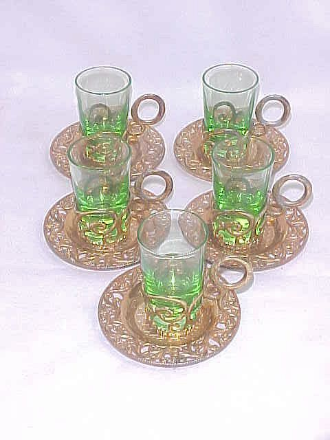 Vintage Russian Vodka Shot Glasses in Holders
