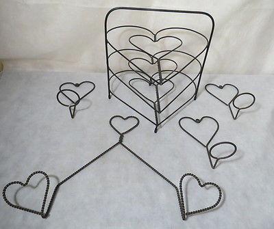 Heart Shaped Wire Pie Stand, Towel Holder, and Candle Holder