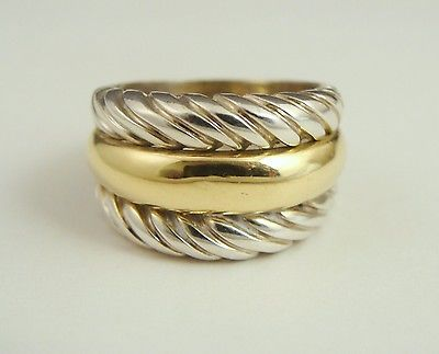 VINTAGE 750 18K YELLOW GOLD 925 STERLING SILVER SCALLOPED CIGAR BAND RING SZ8.25