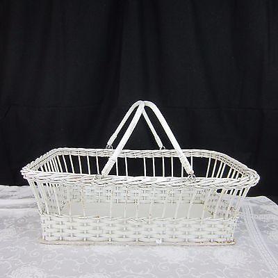 Vintage Large White Wicker  Basket W/Handles