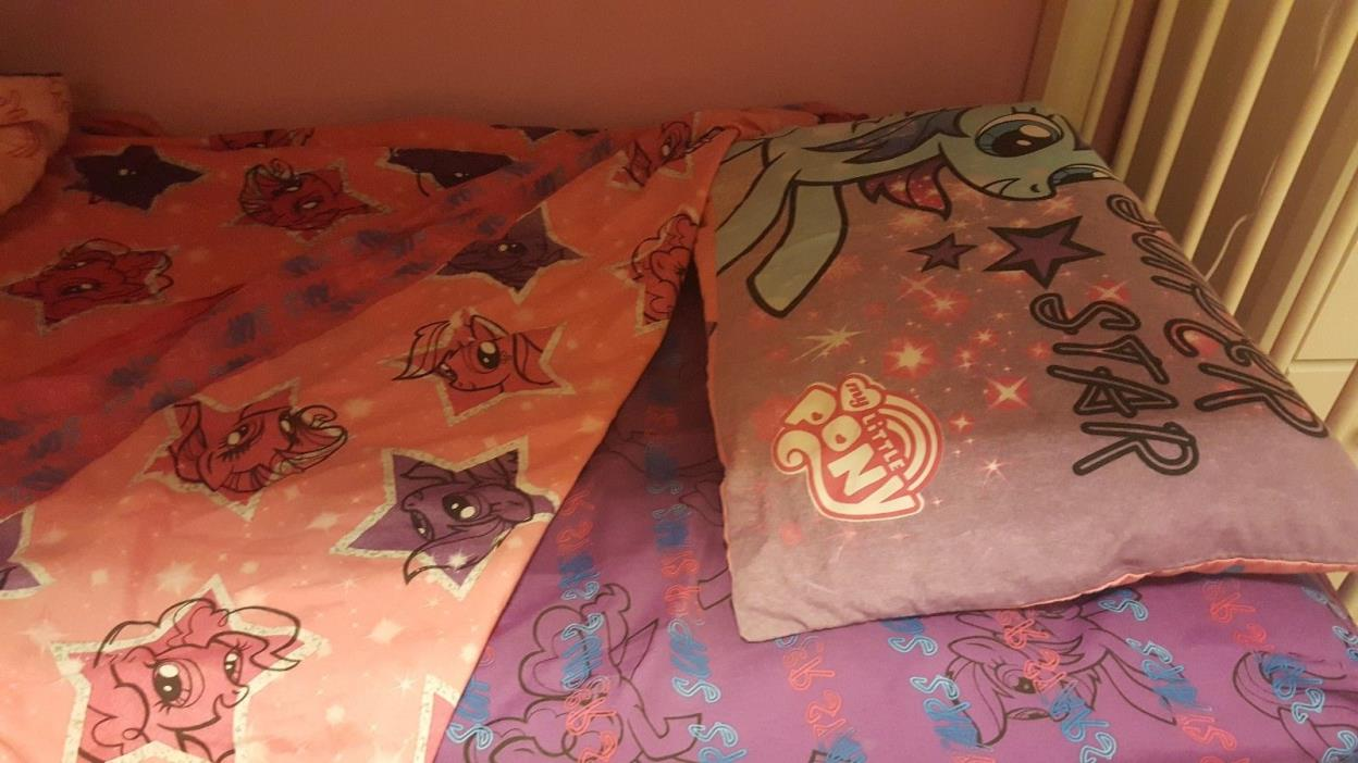 Twilight Sparkle Pinkie Pie My Little Pony GIRLS Twin Bed Comforter Sheets Set