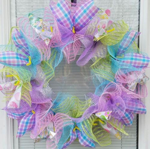 EASTER BUNNY EASTER EGG DECO MESH WREATH DECO MESH RIBBON