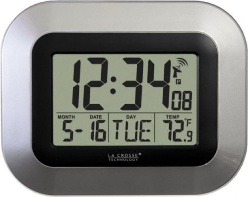 La Crosse Technology WT-8005U-S Atomic Digital Wall Clock With Indoor Silver
