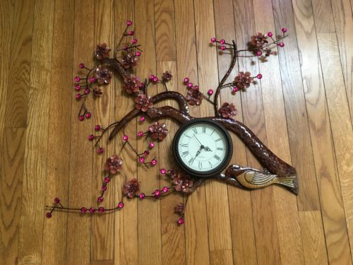 Metal Wall Clock with Birds