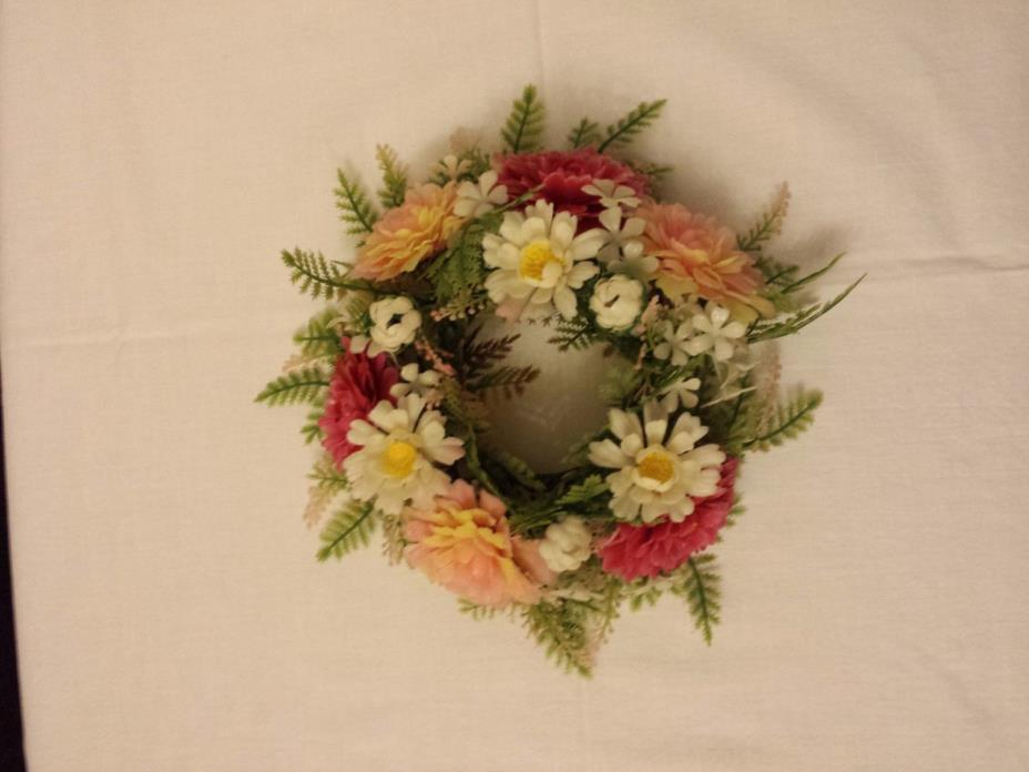 vtg plastic candle ring wreath flowers bright spring colors 3in. opening nice