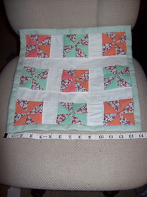 HAND SEWN VINTAGE MATERIAL DOLL QUILT