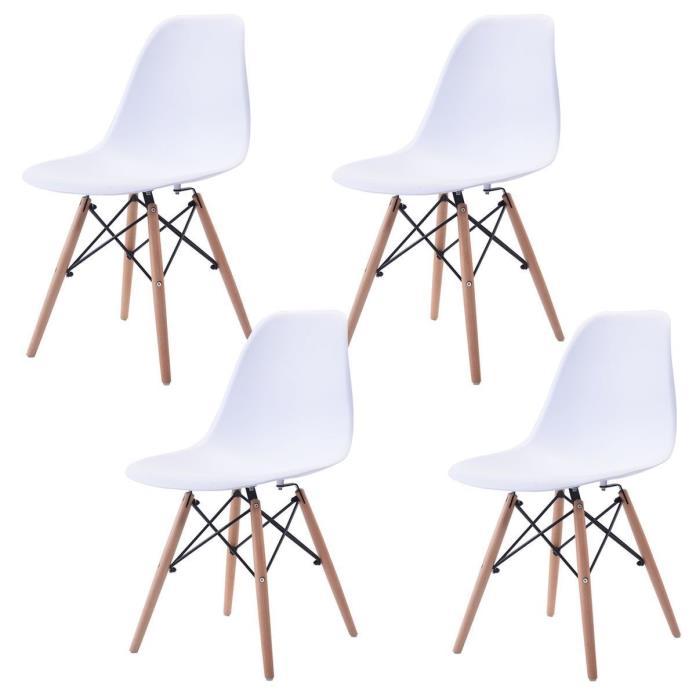 Set of 4 Dining Side Chair Wooden Leg Mid Century ABS Modern Kitchen Seat White