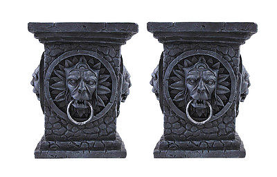 Pair of Gothic Tabletop Column Pillar Candle Holders