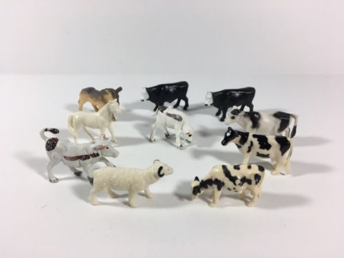 Lot of 10 Plastic Miniature Farm Animals Horse Cattle Donkey Bighorn Sheep