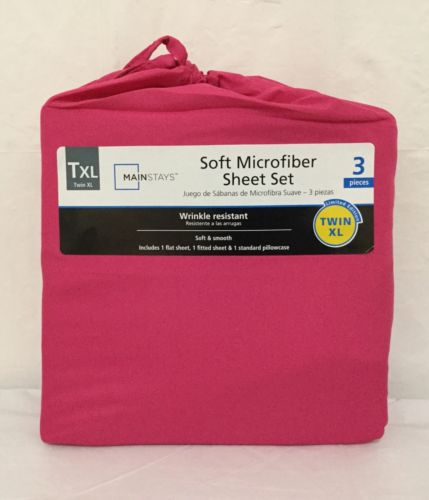 Girls 3Pc  Microfiber Pink Fuchsia Rose Twin XL Sheet Set W/ Queen Pillow Case