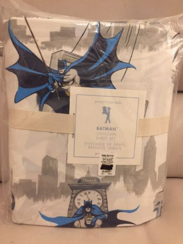 NWT 4pc Pottery Barn Kids Batman CITYSCAPE queen sheet set Blue Grey
