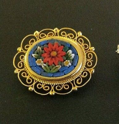 Vintage Red Sunflower Micro Mosaic Pin Brooch from Italy