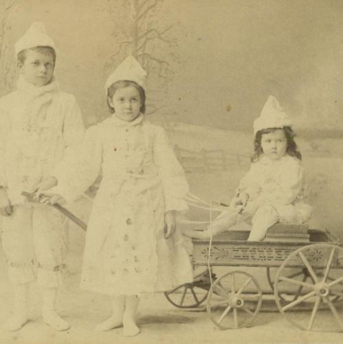 1890 snow baby CHILDREN in WHITE WINTER COSTUME RARE EXPRESS HIGHWHEEL WAGON TOY