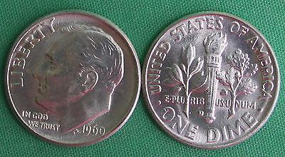 1960 D BU Roosevelt SILVER Dime 10c Ten Cents Coin Uncirculated Denver Mint