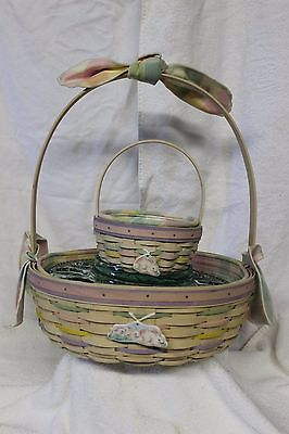 2 - Longaberger Easter Baskets Gift Set w/Tie-Ons & Egg Plate 2001 - Whitewashed