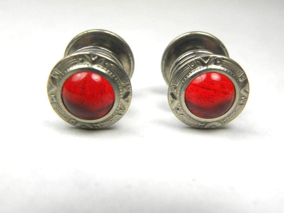 Vintage Snap Cuff Links Rhinestone Red Glass