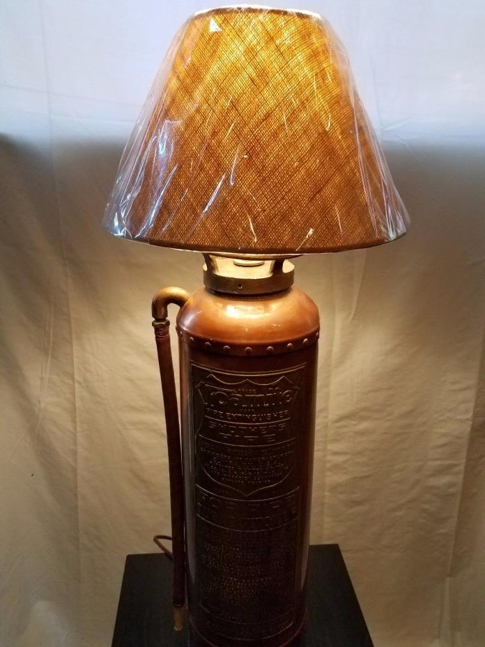 VINTAGE Copper Brass Fire Extinguisher Table Lamp and Shade