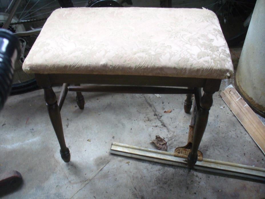 Antique Oak Vanity Dressing Table Stool Bench