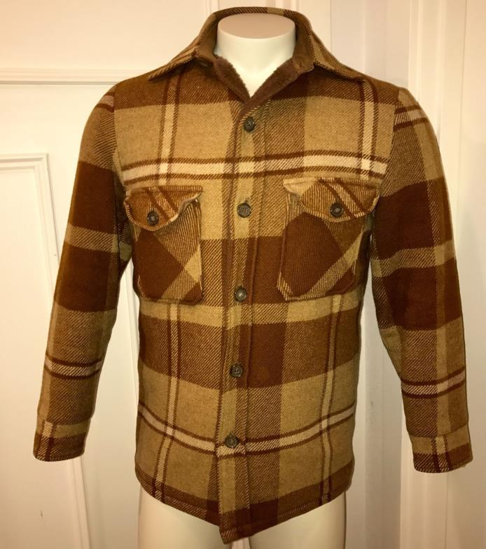Vtg 60s 70s Mens SMALL Plaid WOOLRICH Fur Lined HUNTING Coat WOOL Button Jacket