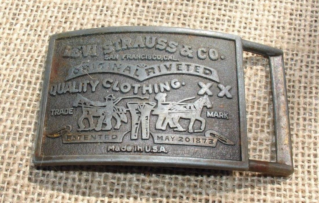 Vintage LEVI STRAUSS & CO Jeans Brass Tone Advertising Belt Buckle