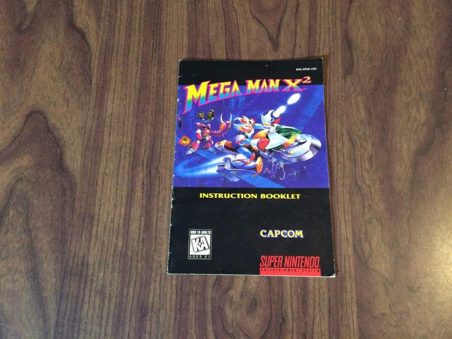 Mega Man X2 (Super Nintendo, SNES) MANUAL - See pictures - Has wear