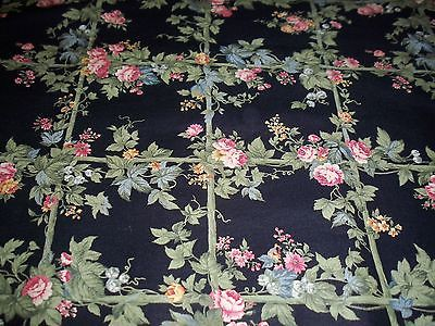 3 1/2 Yds Vintage FLOWERS Screen Print Cranston Cloth  Cotton Quilt Fabric
