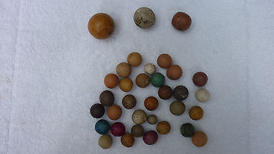 Lot of 34 Vintage Handmade Clay Marbles