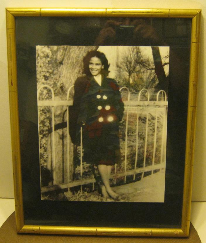 1960's Framed 1940's Photo Pretty & Young Black Woman Well Dressed & Smiling!!!!