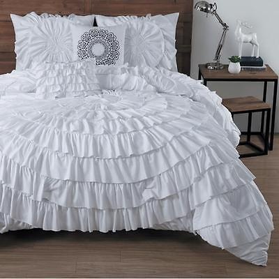 5 Piece Comforter Set Oversized and Overfilled Polyester White King Size