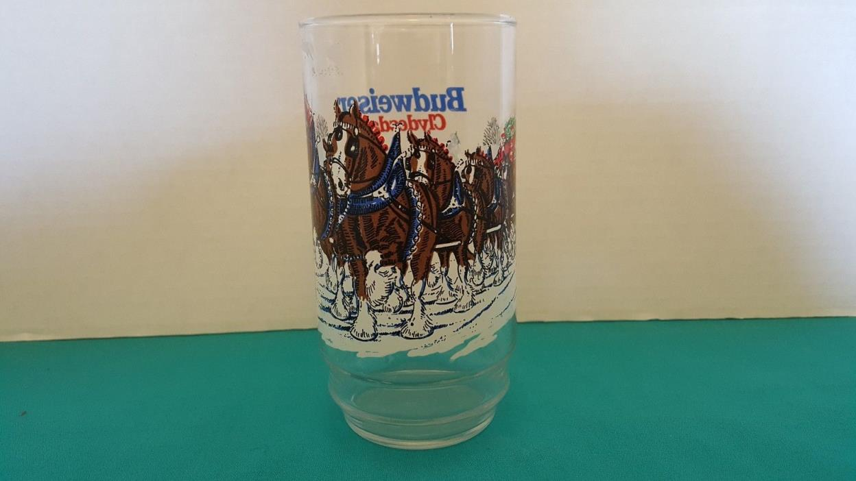 Budweiser Clydesdales Vintage Winter Holiday Drinking Glass