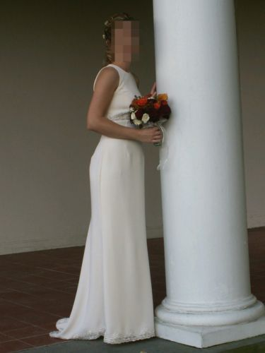 Jim Hjelm Visions Ivory wedding evening dress simple elegant