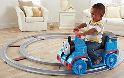 Kids Ride Toy Vehicle On Train Engine Track Power Wheel Drive Thomas Car Play Go