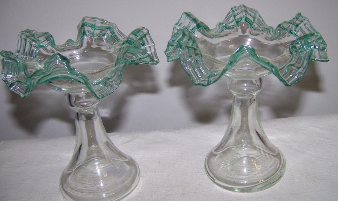 PAIR OF STEUBEN TYPE GREEN THREADED CANDLESTICK VASES