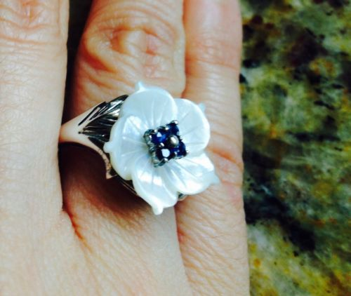 Sapphire And Mother Pearl Silver Ring