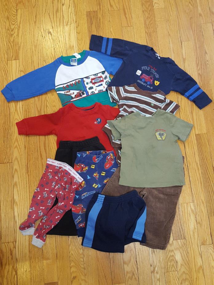 Toddler Boys Size 18mo 10pc Lot Brown Corduroy Sweatshirts PJ Gymboree Firetruck