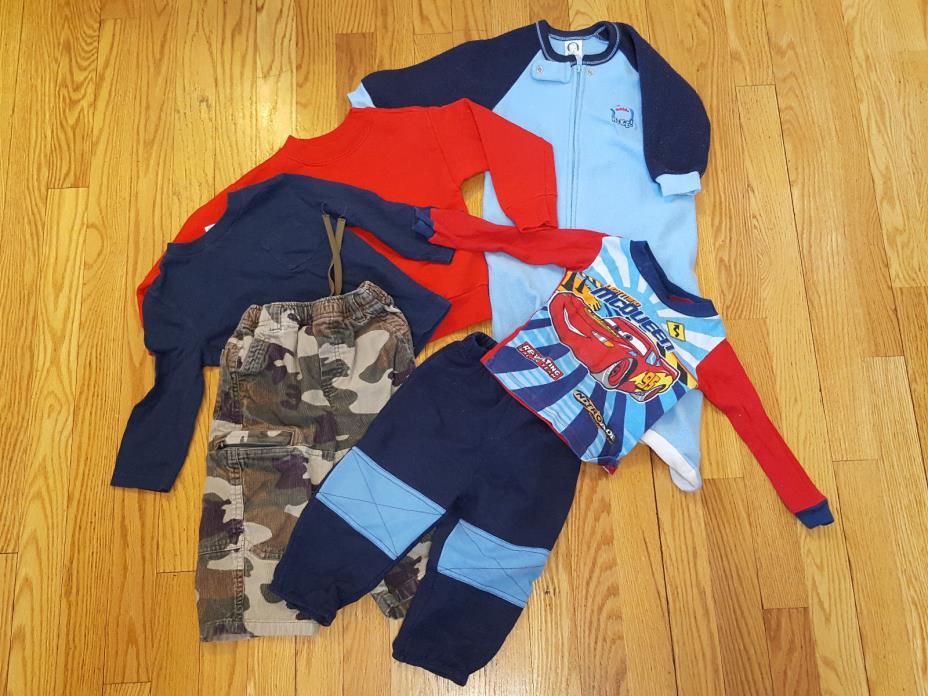 Toddler Boys Size 18mo 6pc Lot Camo Corduroy Footed Pajamas Disney's Cars