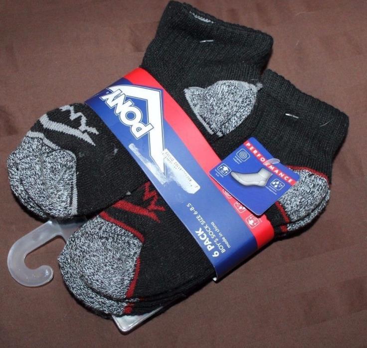 6 Pairs PONY Performance Socks Boy's Toddler Shoe Size 6-8.5 New NIP