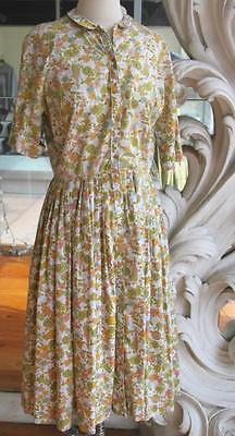Vintage 1960s Cos Cob Floral Cotton Shirtwaist Dress