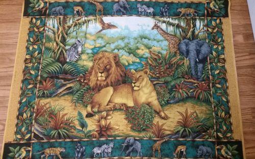 SPRINGS INDUSTRIES Safari Wild Kingdom Lion Birds Zebra Jungle Fabric 4 Yards
