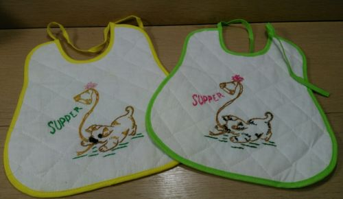2 Vintage Handmade and Stitched Baby Girls Quilted Bibs Puppy & Kitten