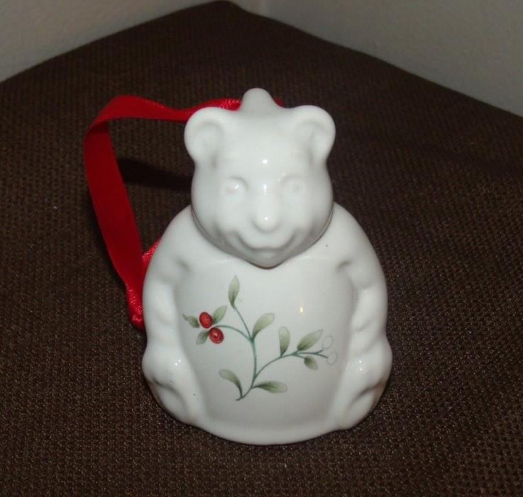 Collectible Pfaltzgraff Winterberry Teddy Bear Bell Christmas Ornament 1994 EUC