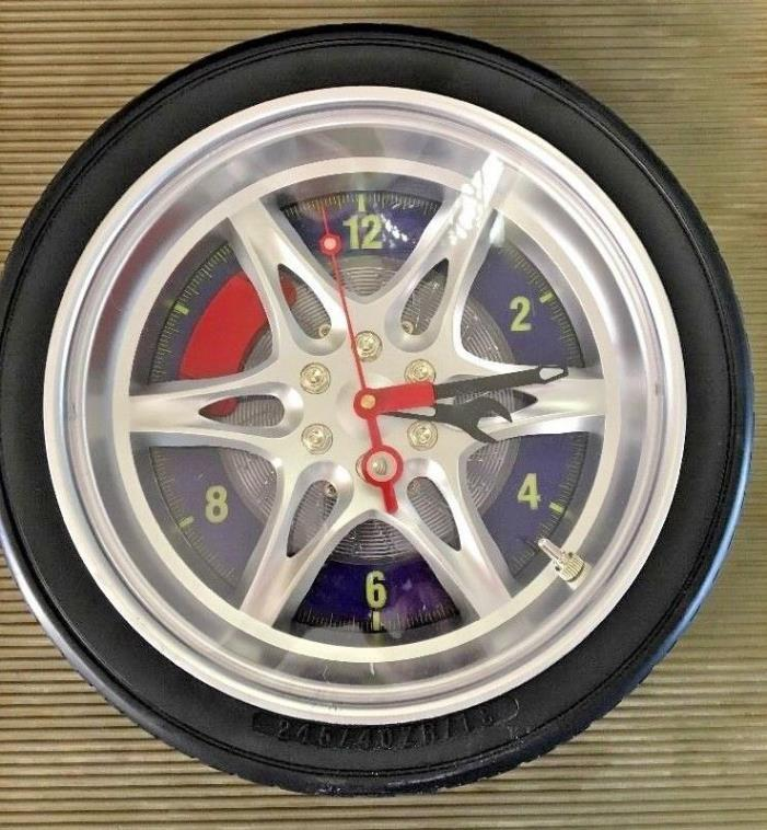 Wall Clock Tire Mechanic Wrench Lug Nuts Novelty Auto Man Cave 14 Inch DF