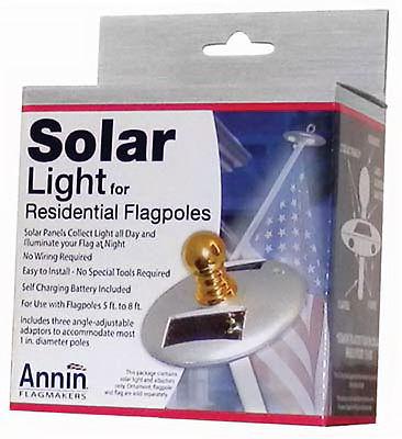 ANNIN FLAGMAKERS Flag Pole Solar Light, Mini, Silver