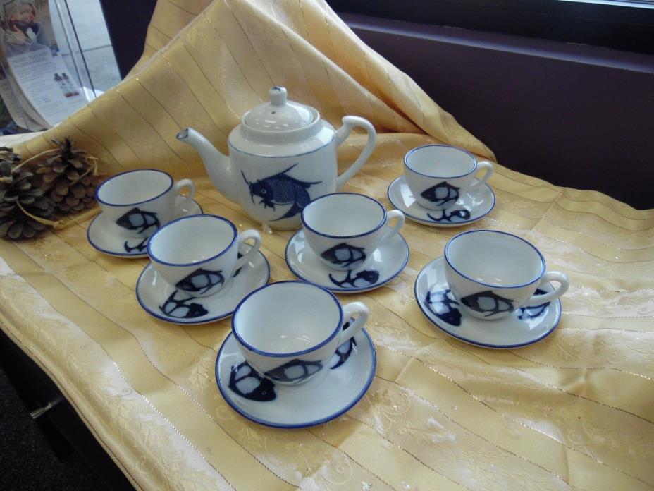 7 pc Koi Teapot & Cup Set