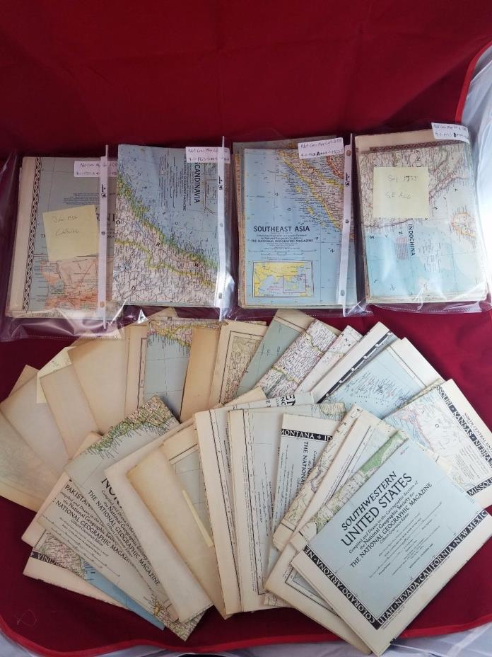 Huge LOT 87 Maps from National Geographic NO DUPLICATES 1925-1970