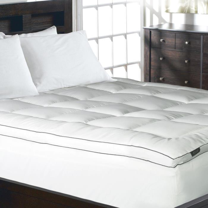 Elle 1200 Thread Count Cotton-Rich Solid Mattress Pad, Full, White