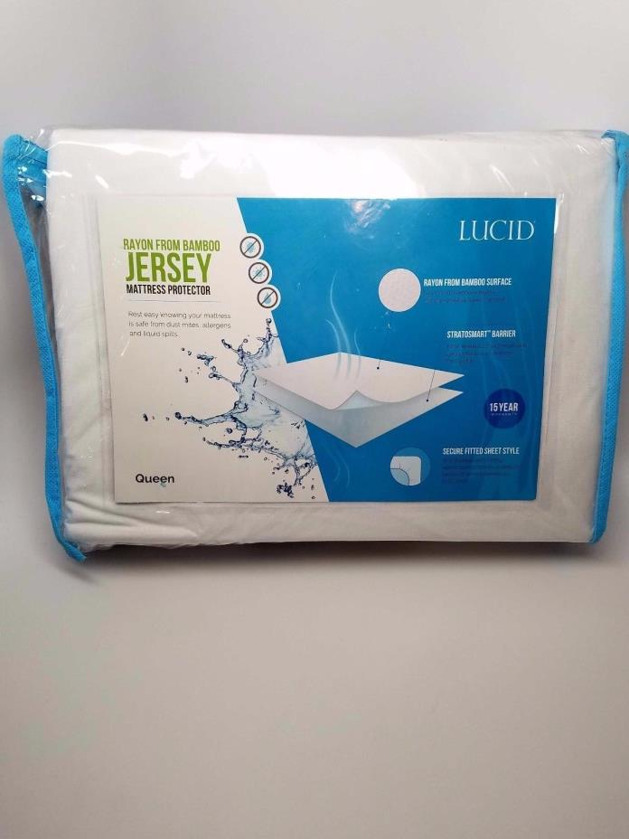 LUCID Super Soft Rayon from Bamboo Jersey Mattress Protector - Waterproof QUEEN